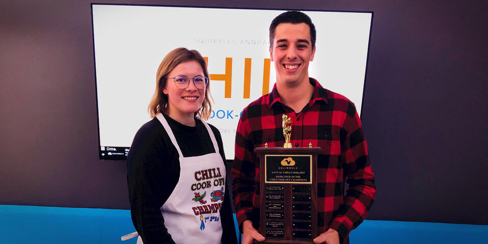 2019 Squirrels Chili Cook-off winners Rachel and Sean