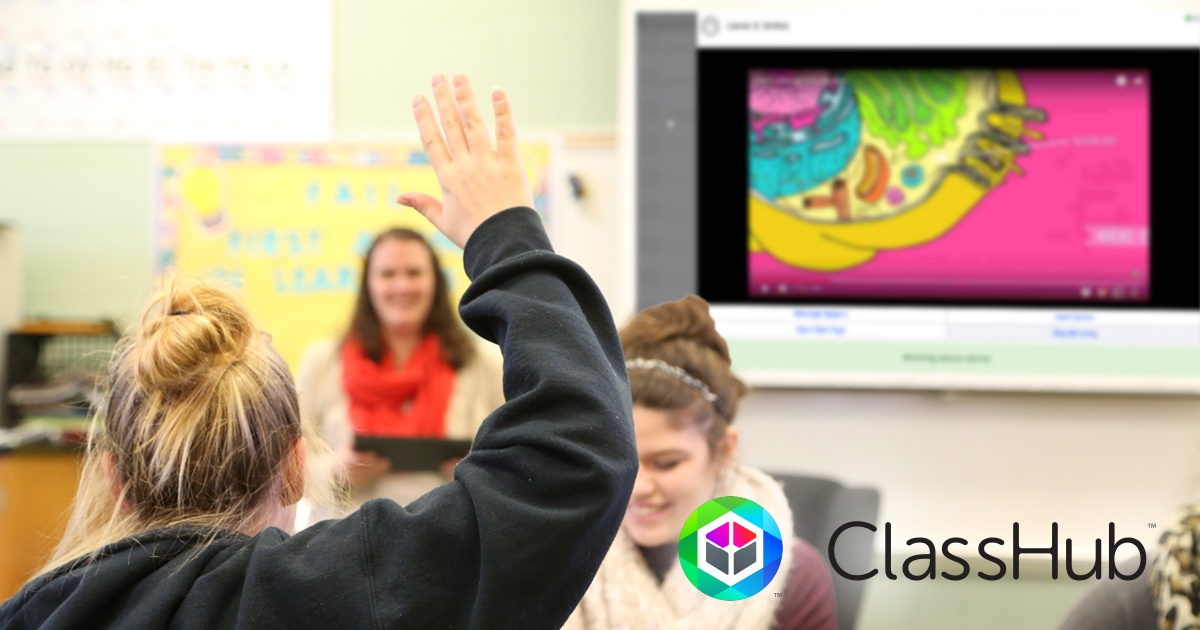 Two students and a teacher using ClassHub in a classroom