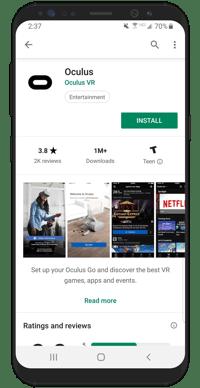 Samsung Phone with Oculus app