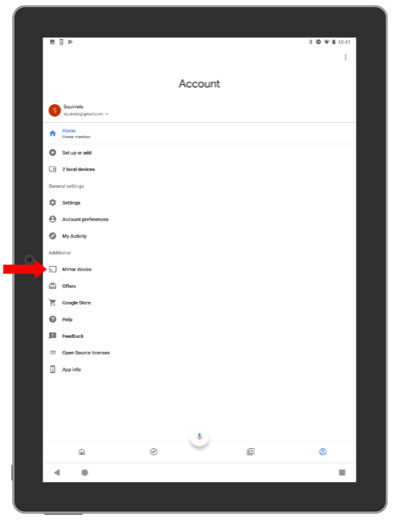 Account tab on Google Home