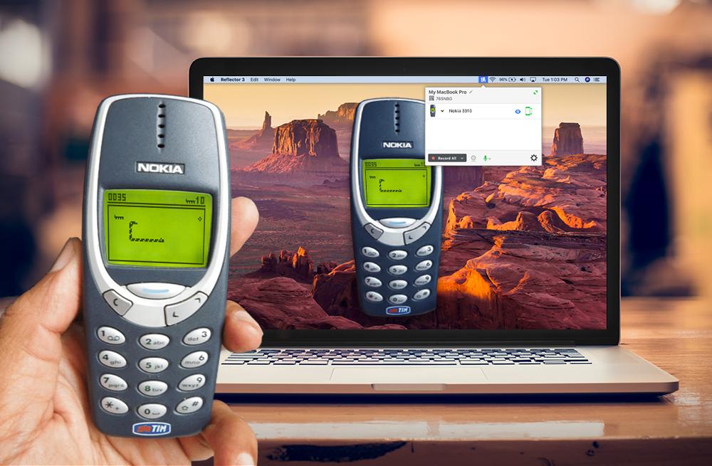 Nokia 3310 mirrored to computer