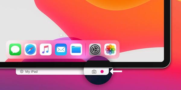 Record iPadOS Screen Reflector button