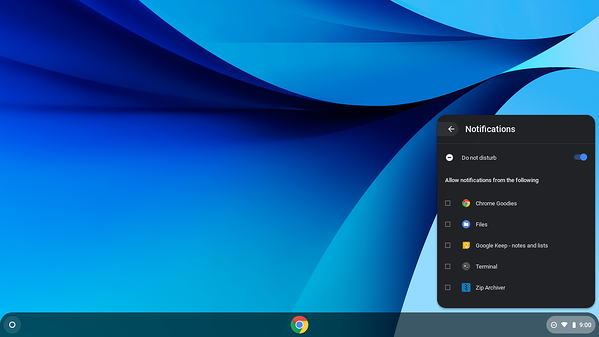 Chromebook notifications unchecked
