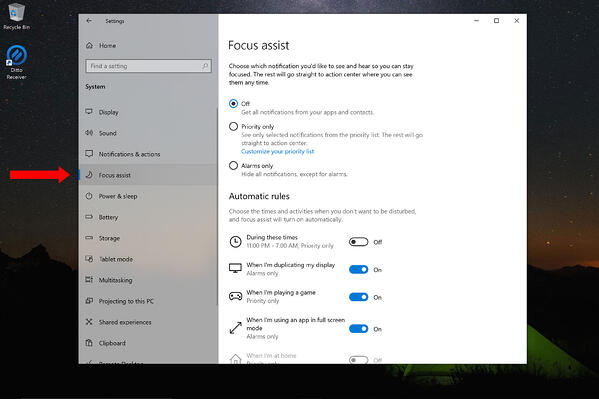 Windows Focus Assist