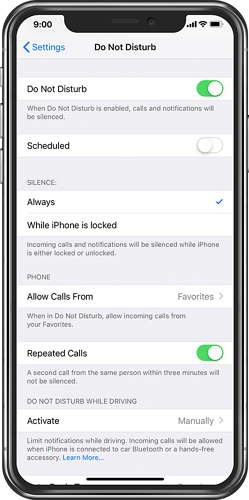 iPhone Do Not Disturb set to Always