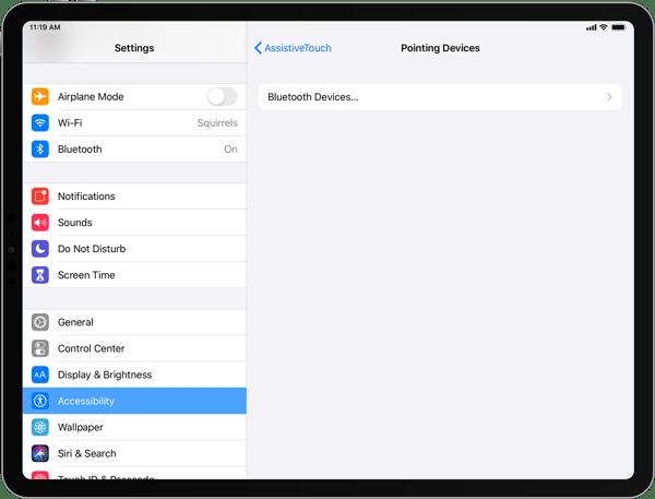 iPad Bluetooth Devices list