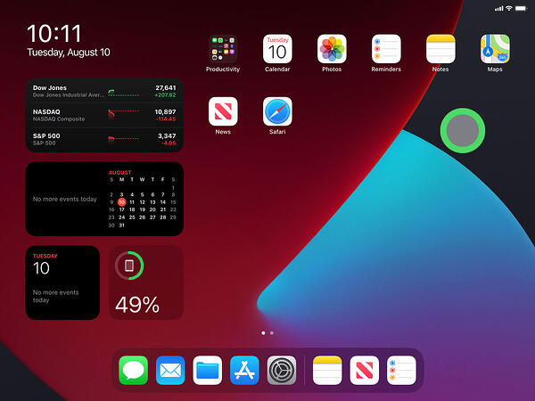 iPad screenshot showing mouse cursor