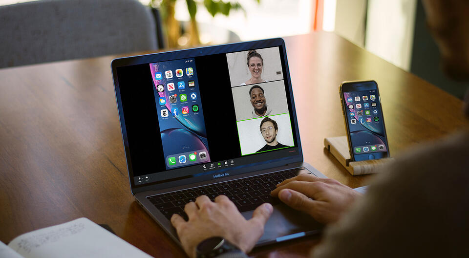 Reflector mirroring phone to remote meeting