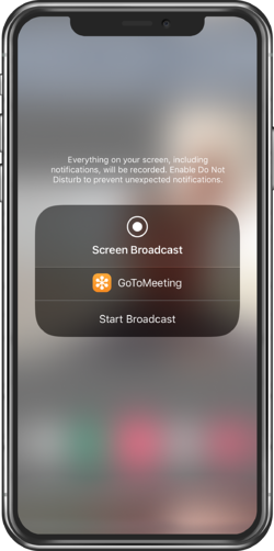 GoToMeeting mobile app Start Broadcast
