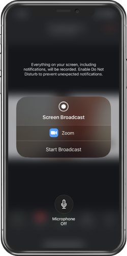 Zoom mobile app Start Broadcast