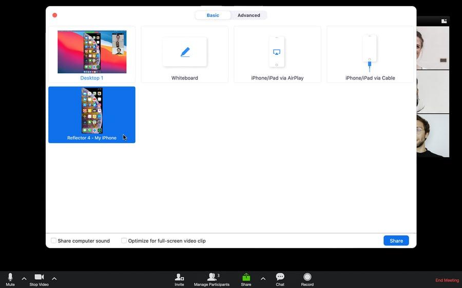 Zoom share phone screen option