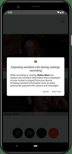 Cisco Webex Android start sharing screen