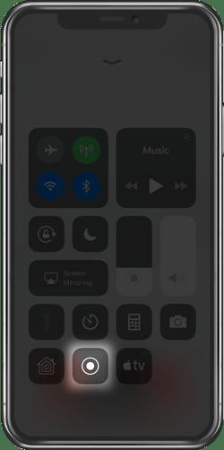 iPhone Control Center Screen Recording button