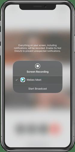 Cisco Webex iPhone app Start Broadcast
