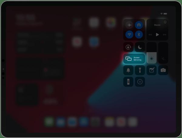 iPad Control Center Screen Mirroring
