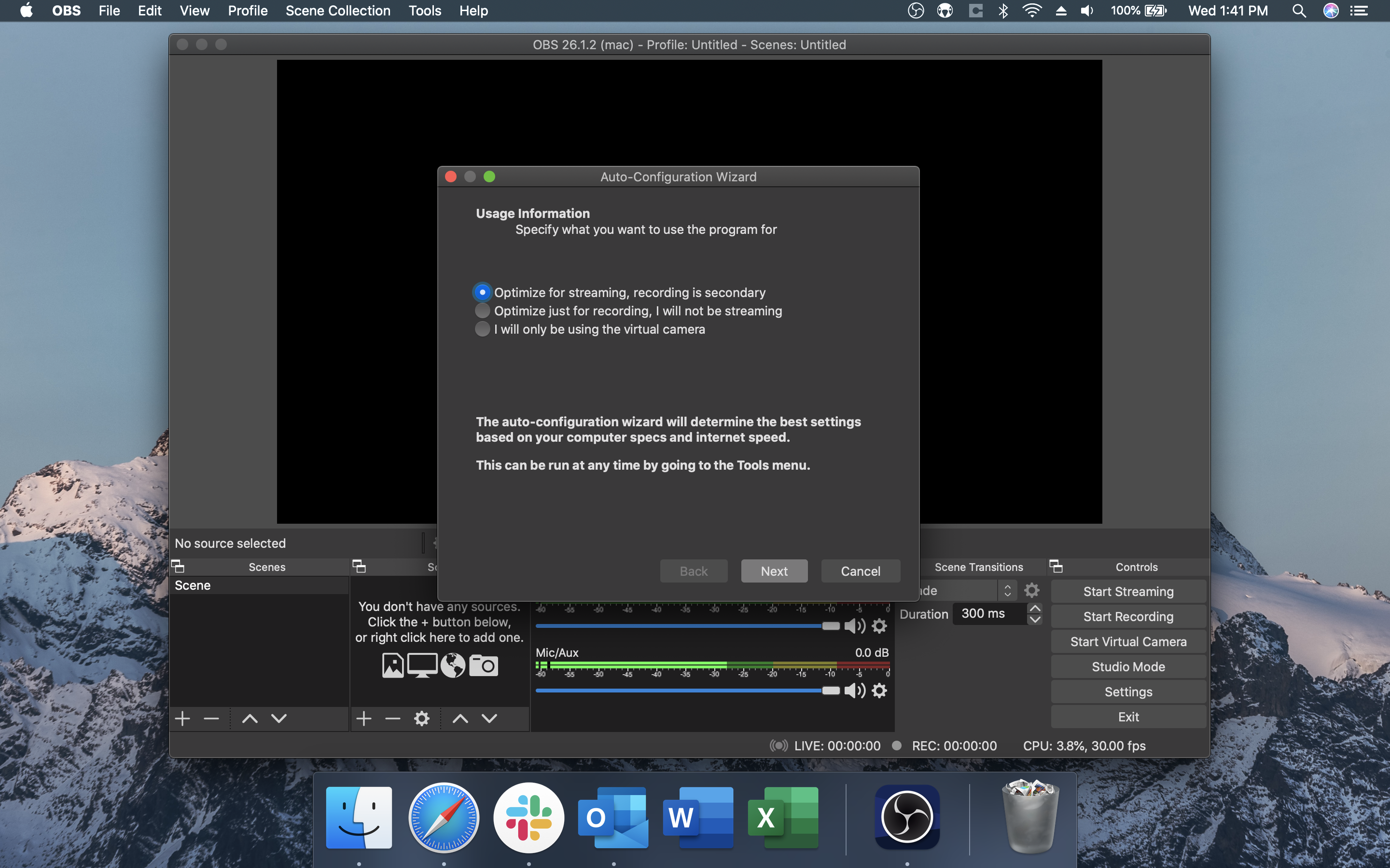 OBS Auto-Configuration Wizen Optimize for Streaming