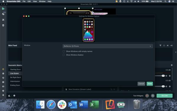 Streamlabs — select window capture (Mac)