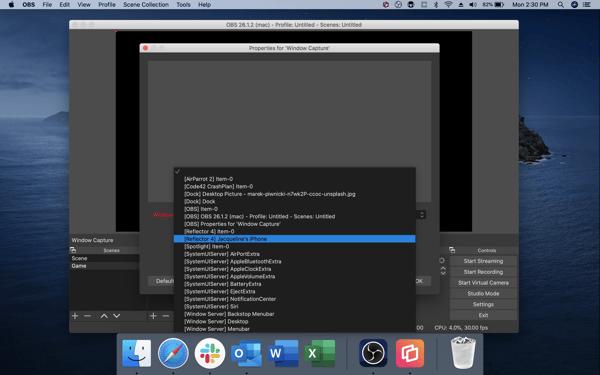 OBS — select window capture source (Mac)
