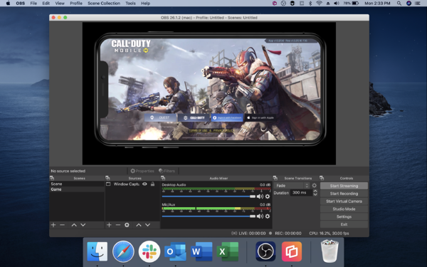 OBS with mobile game in streaming window