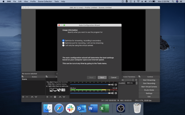 OBS Auto-Configuration Wizard Optimize for Streaming