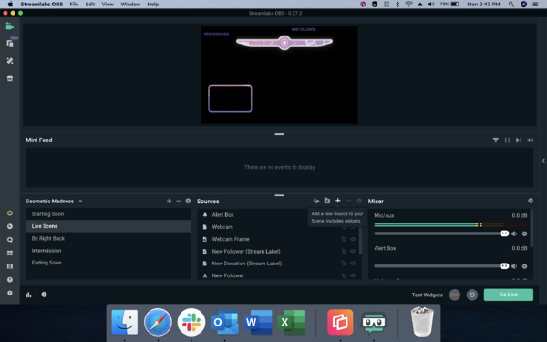 "Streamlabs — Select ""live scene"" and ""+"" in the Sources box"