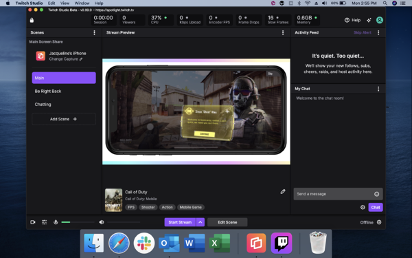 Twitch Studio — mobile game is in the stream preview