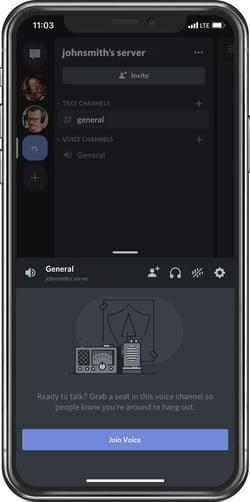 Discord server on mobile