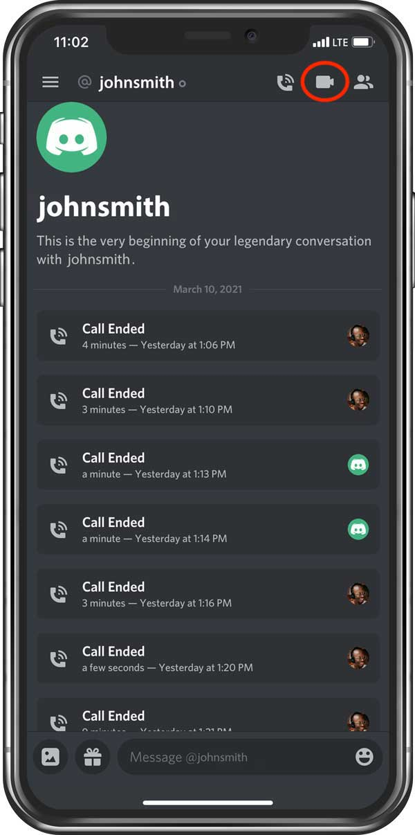 Direct message on Discord mobile
