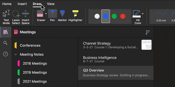 Microsoft OneNote Draw menu