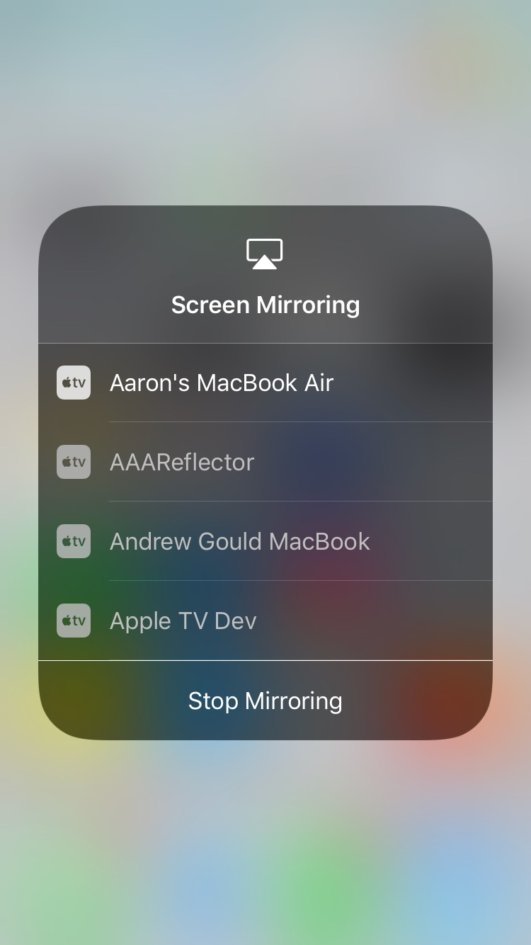 iOS 11 Control Center - Screen Mirroring