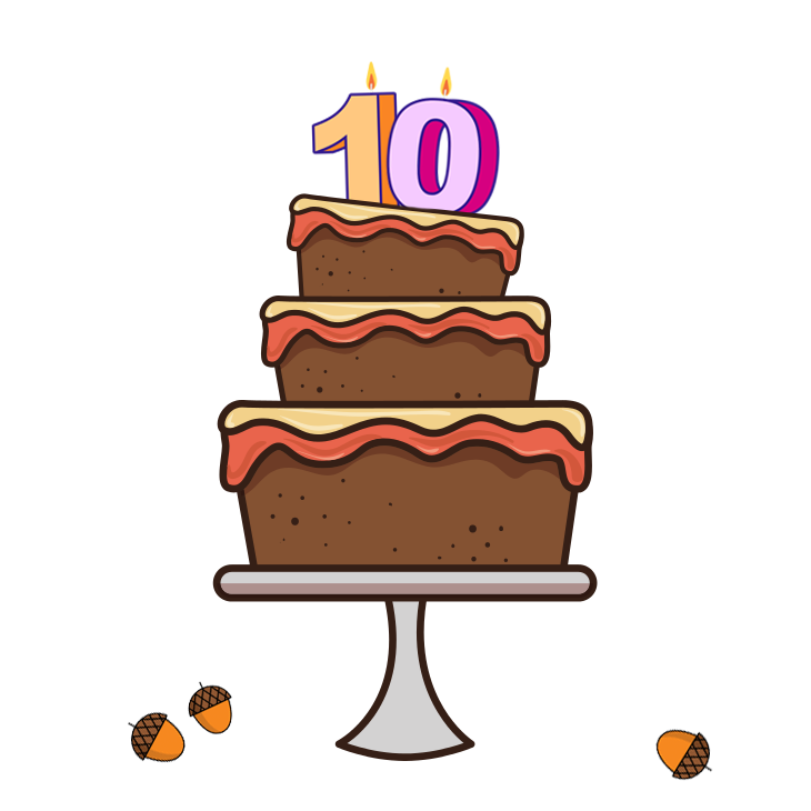 Birthday cake with acorns underneath