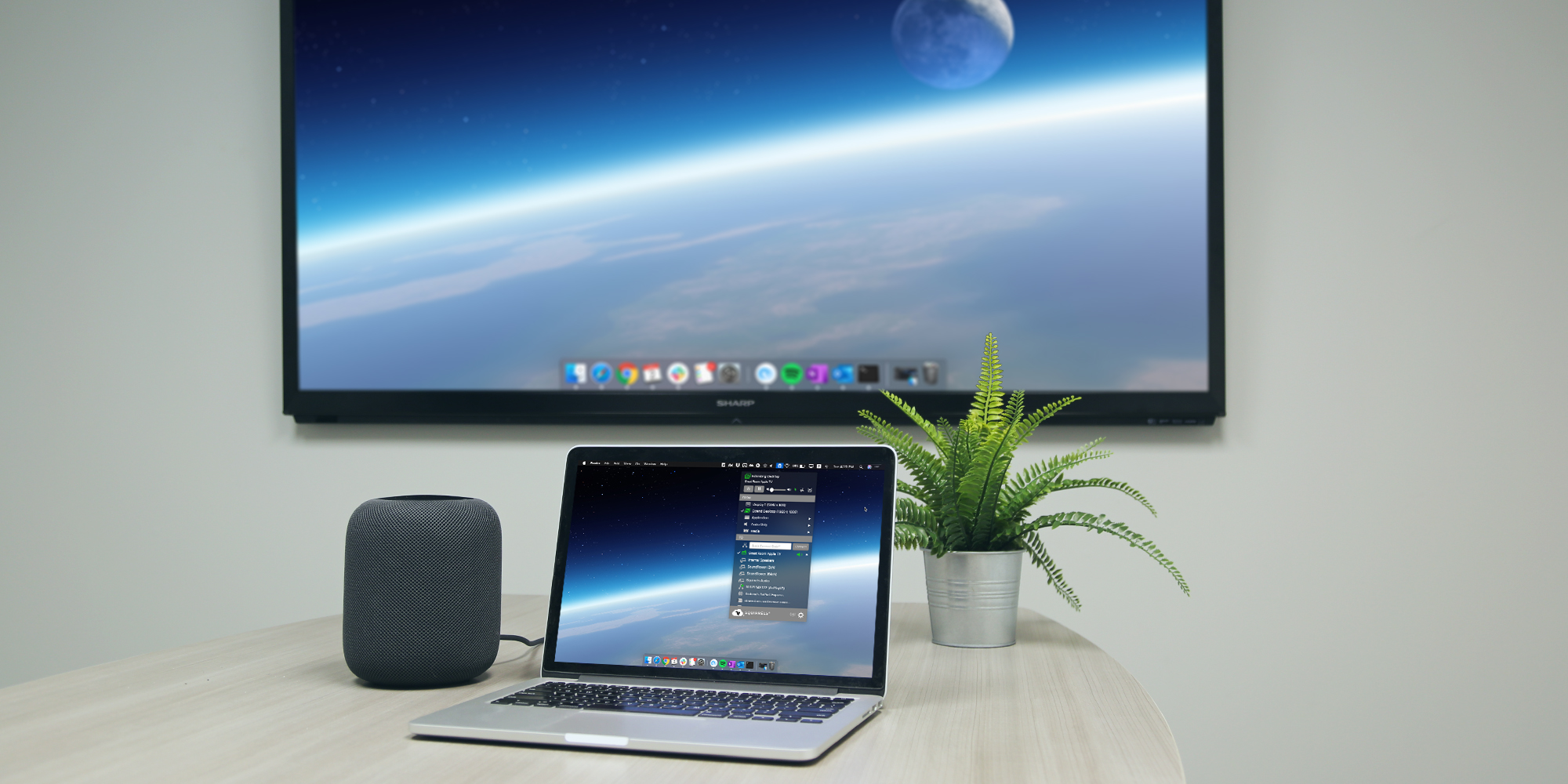 AirParrot extending desktop and streaming to Apple HomePod