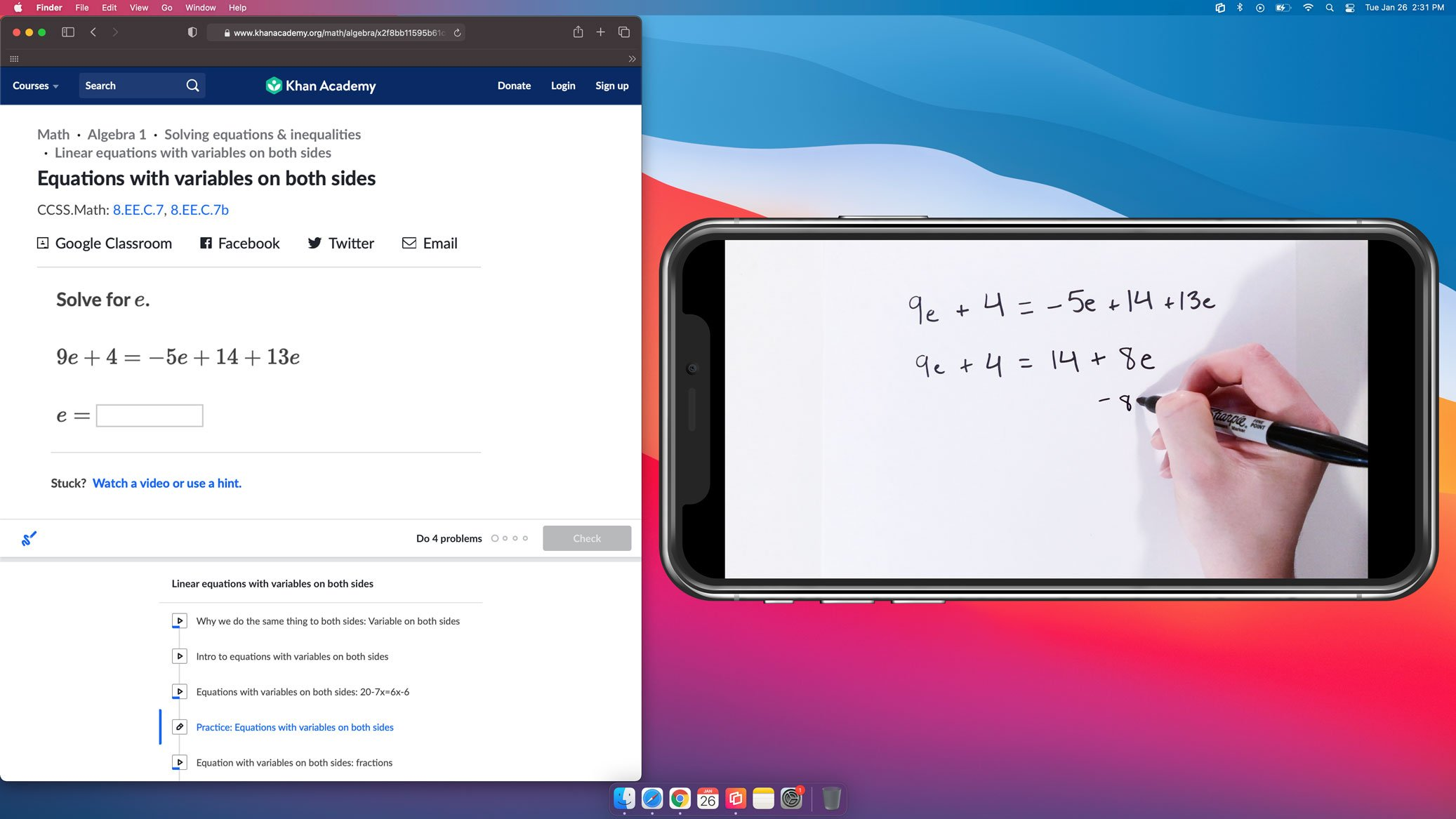 Using phone as document camera on computer screen