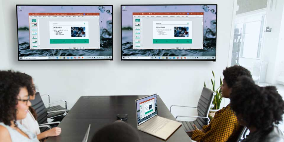 Windows PC mirrored to multiple Apple TV displays